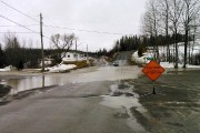Water-covered road near Drummond